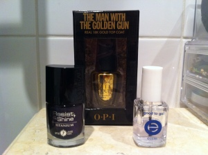 L'oreal Resist & Shine Titanium, The Man with the Golden Gun OPI, Essie Good to Go topcoat